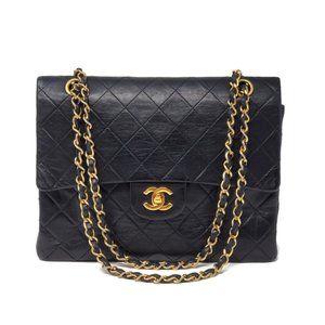 Auth Chanel Double Flap Lambskin Shoulder Bag